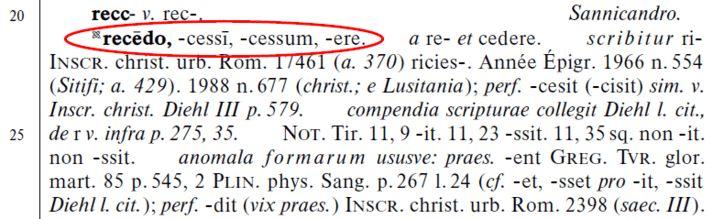 Article structure: Thesaurus linguae Latinae