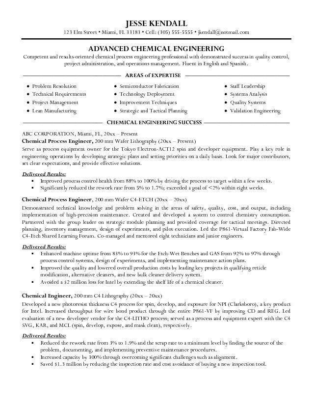 Chemical Engineer Sample Resume 21 Experienced Chemical Engineer ...
