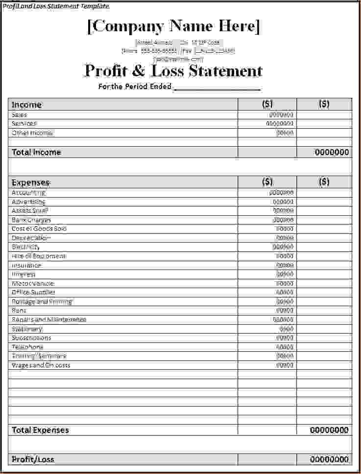 7+ simple profit and loss template | Procedure Template Sample