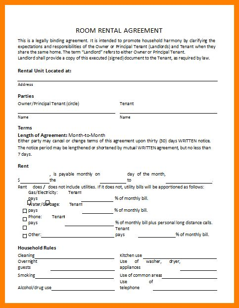 Free Room Lease Agreement Template