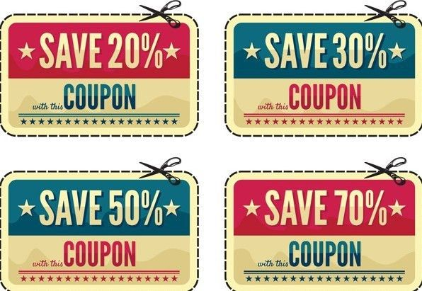 Free Vintage Coupon & Discount Labels Vector - TitanUI