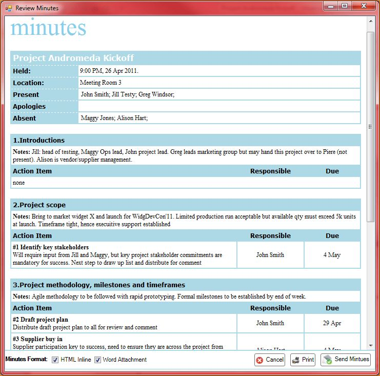 4+ minutes of meeting sample   Outline Templates