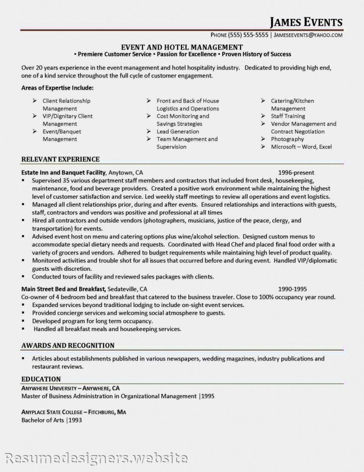 Events Manager Resume Sample | Resume Template Free