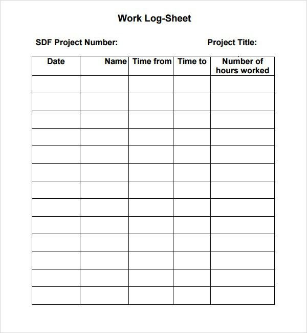 Nice 7+ Work Log Templates   Word Excel PDF Formats