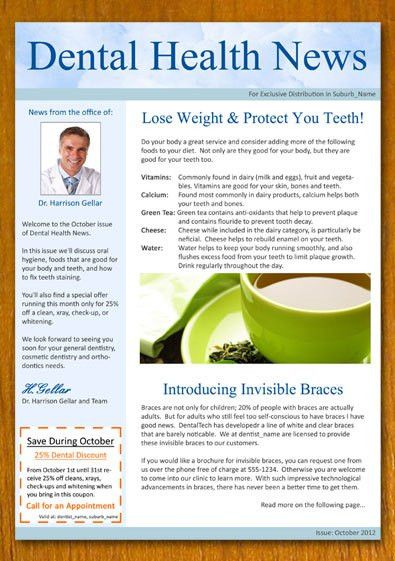 Free Sample Dentist And Dental Newsletter Template Template