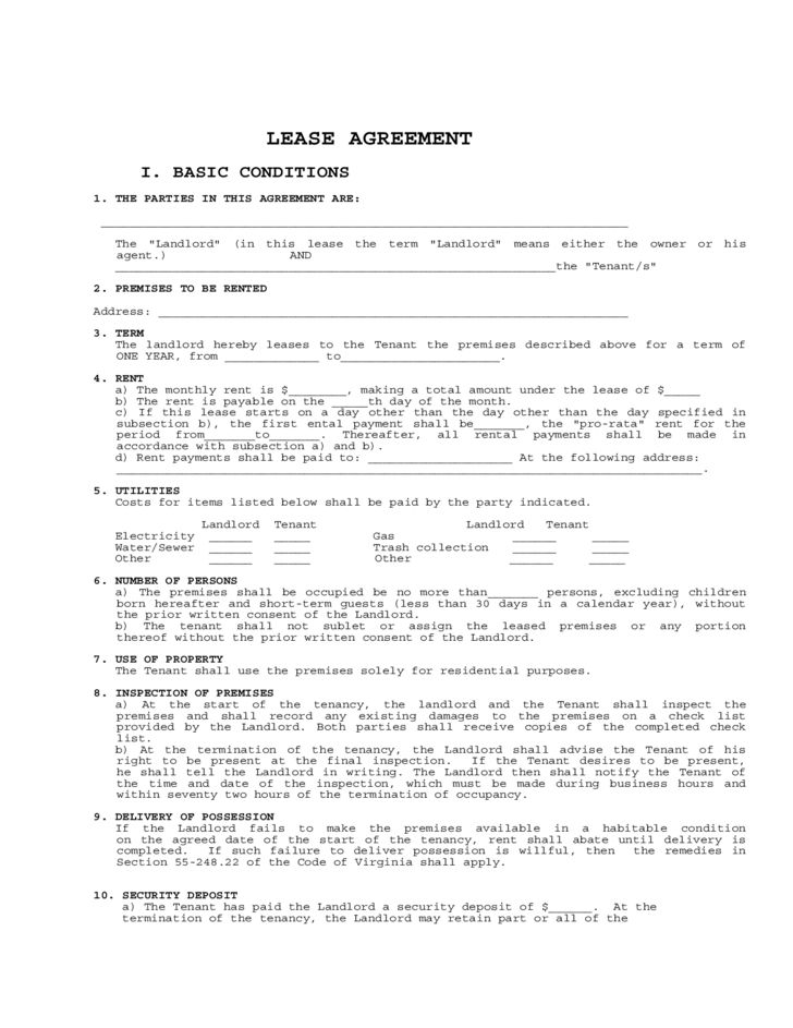 Virginia Residential Lease Agreement Form Free Download