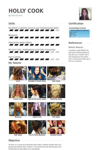 Hair Stylist CV Örneği - VisualCV Özgeçmiş Örnekleri Veritabanı