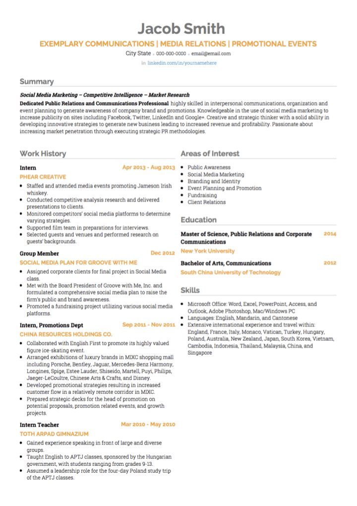 Public Relations CV examples and template