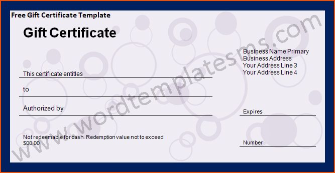 6+ word gift certificate template - bookletemplate.org