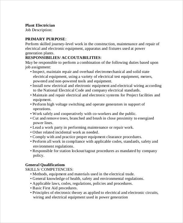 Sample Job Description - 19+ Documents in PDF, Word