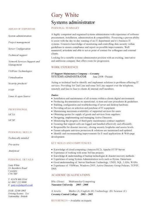 Systems administrator CV sample, resume, curriculum vitae ...