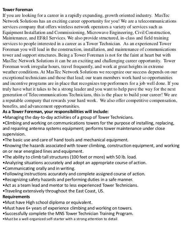 Tower technician Job Descriptions