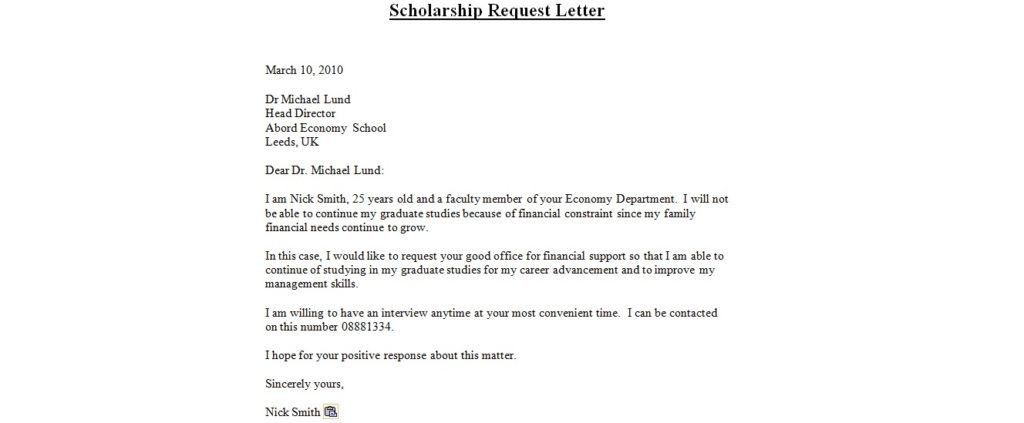 sample scholarship request letter Template Template inside ...