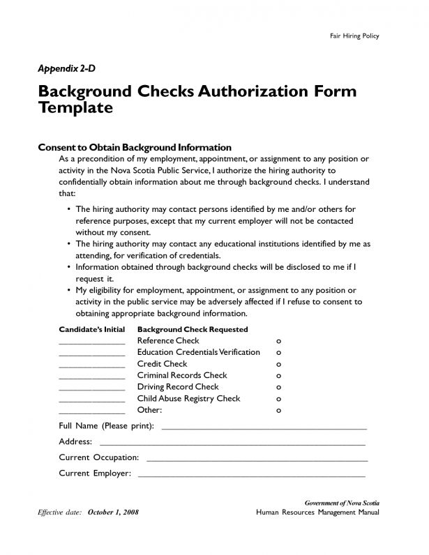 Checks Template Background Check Authorization Form Sample ...