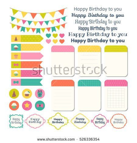 Set Birthday Party Design Elements Template Stock Vector 526336354 ...