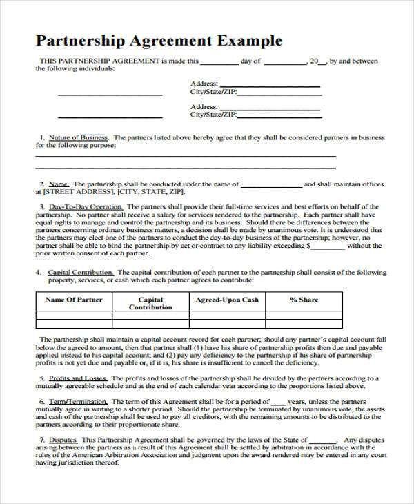 Partner Contract Sample Partnership Agreement Template Form With – Partner Contract Sample