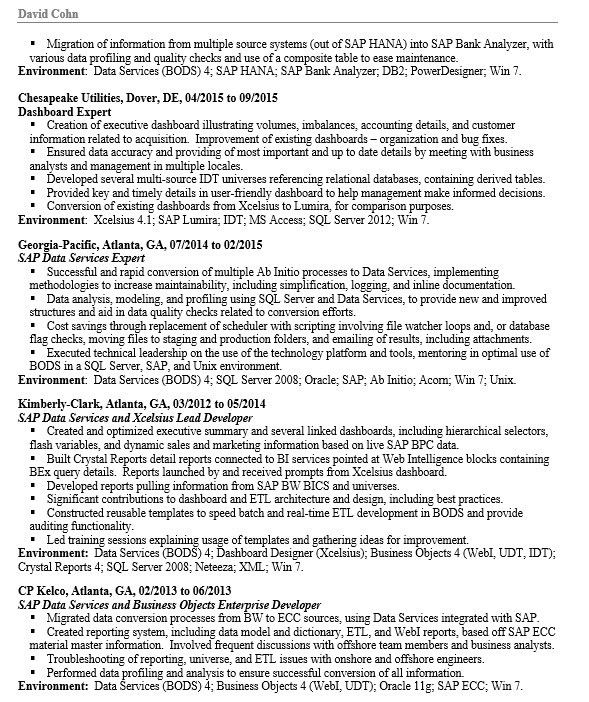 Sap Hana Resume [Template.billybullock.us ]