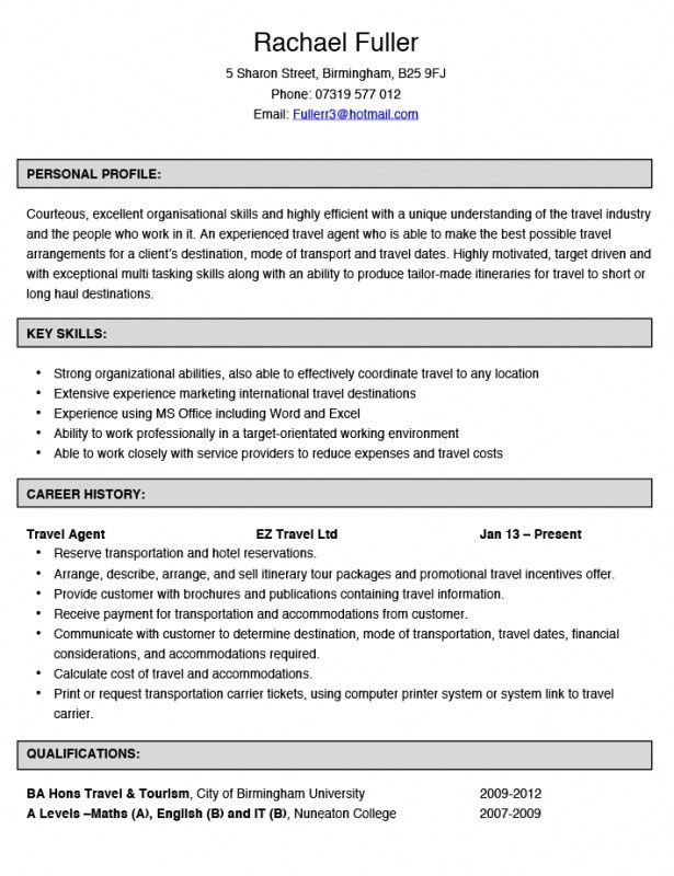 Travel Agent Resume – Resume Examples