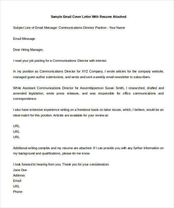 Cover letter for job application email   Templates