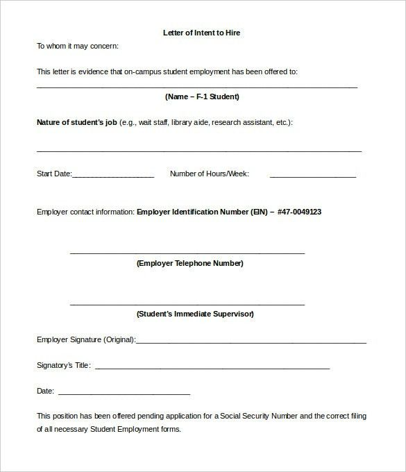 9+ Employment Letter Of Intent Templates - Free Sample, Example ...