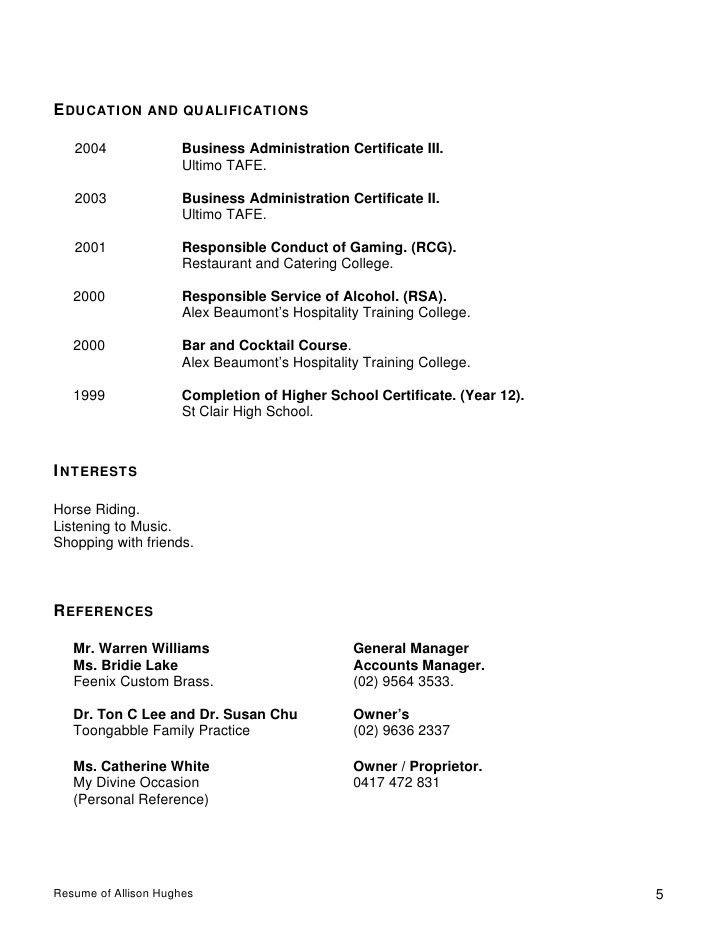 Resume Of Allison Hughes