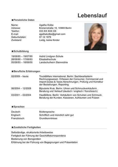 Curriculum Vitae   Resume - Template Sample German / Austria
