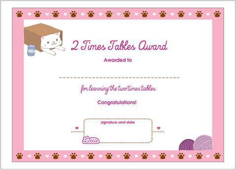 2 Times Tables Printable Award Certificate – Lottie Dolls