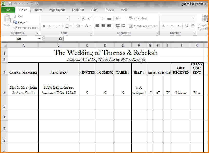 12+ wedding guest list excel | wedding spreadsheet