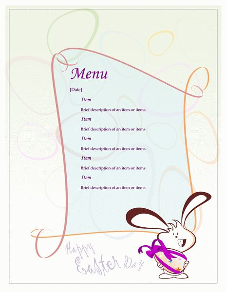 Easter party menu - Office Templates