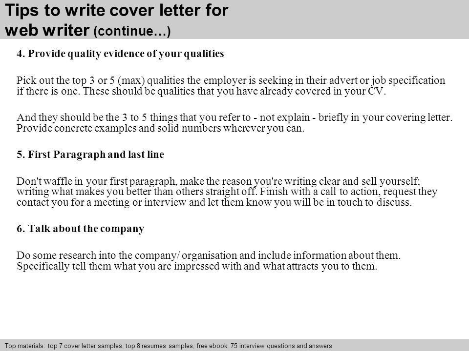 web writer cover letter ppt video online download