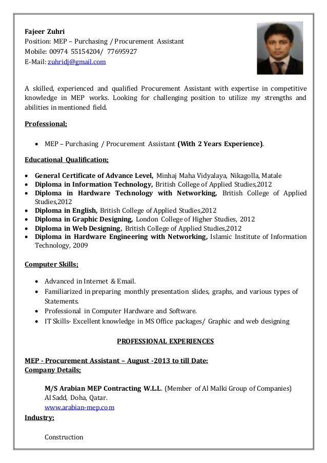Fajeer Zuhri CV - Procurement