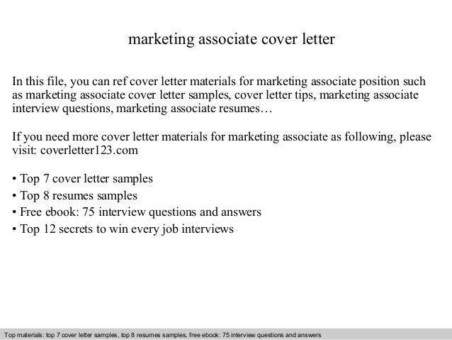 Marketing Cover Letter. Marketing Associate Cover Letter In This ...