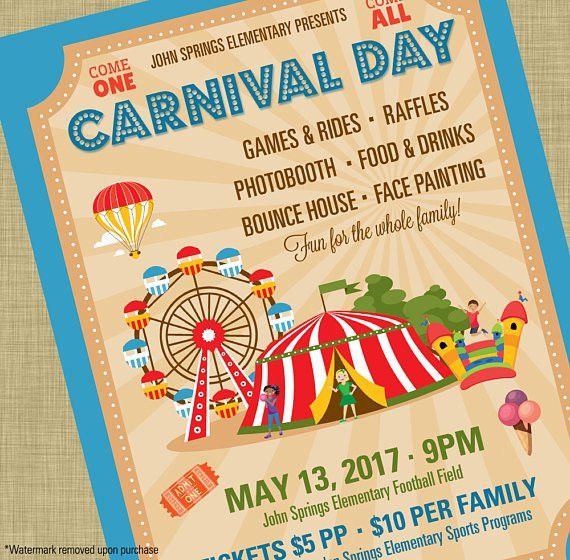 Carnival Flyer Invitation Postcard Poster Template Church School ...