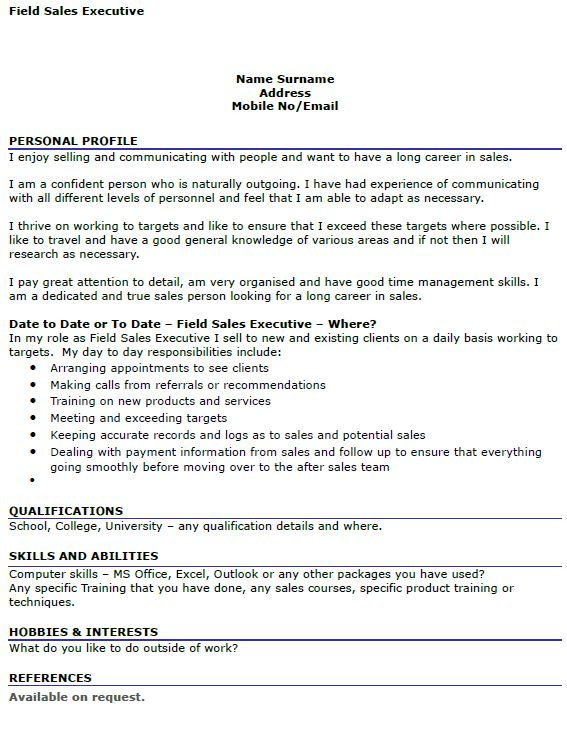 Field Sales Executive CV Example - icover.org.uk