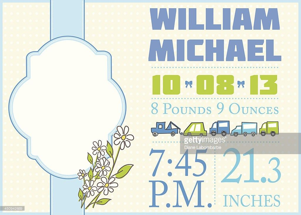 Cute Birth Announcement Template Boy Vector Art | Getty Images