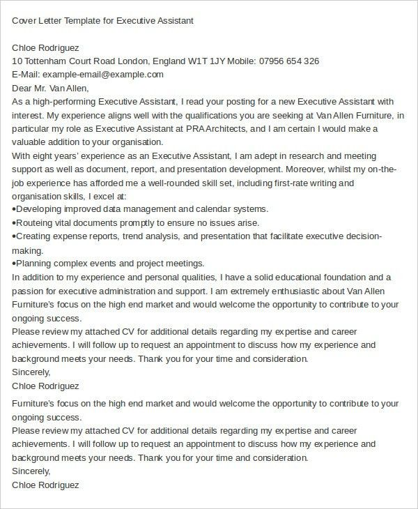 Executive Assistant Cover Letter - 11+ Free Word Documents ...