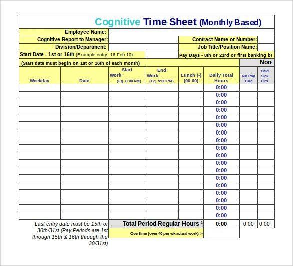 13+ Employee Timesheet Templates – Free Sample, Example Format ...