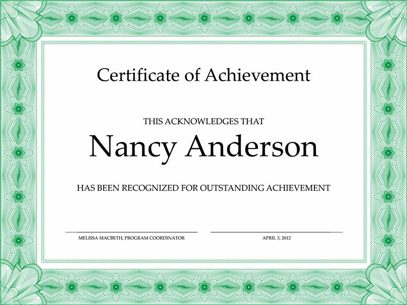 Certificate of achievement (green) - Office Templates