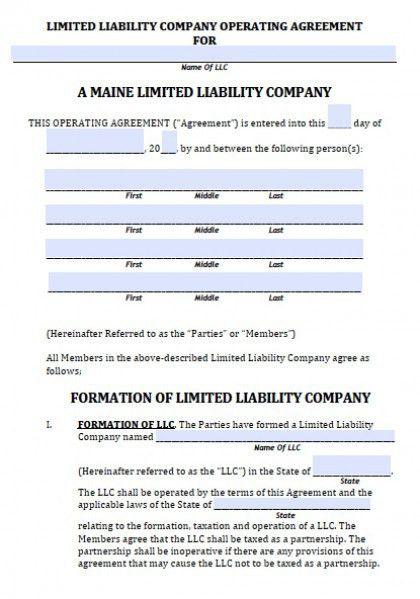 Download Maine LLC Operating Agreement Template wikiDownload