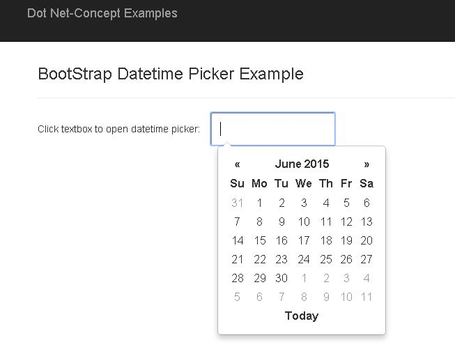 BootStrap Datetime Picker Example - Dot Net Concept