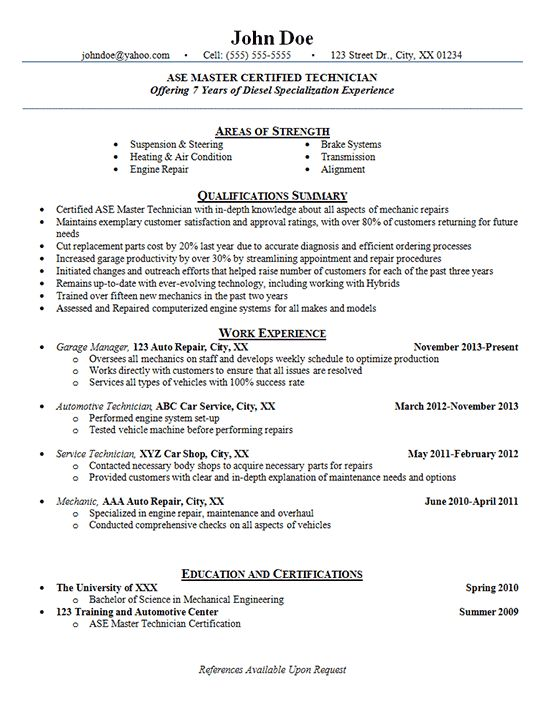 Automotive Technician Resume Examples - Auto Mechanic, Engine Repair