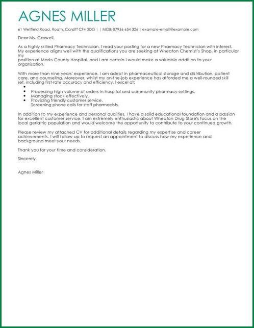 10 Pharmacy Technician Cover Letter | applicationsformat.info
