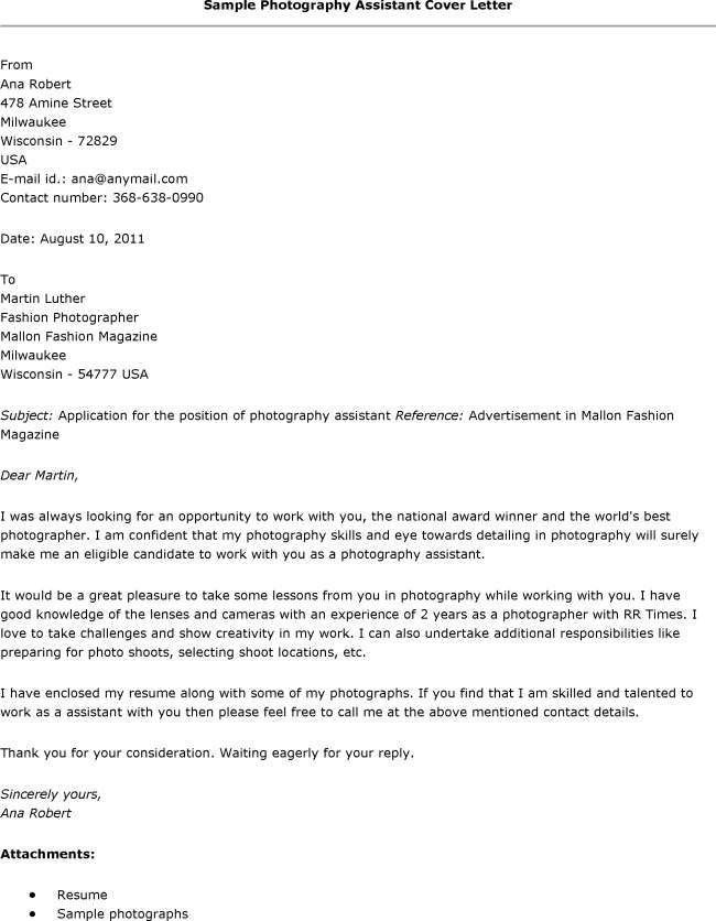 Resume Cover Letter Sles Photography Assistant Resumes Letters for ...