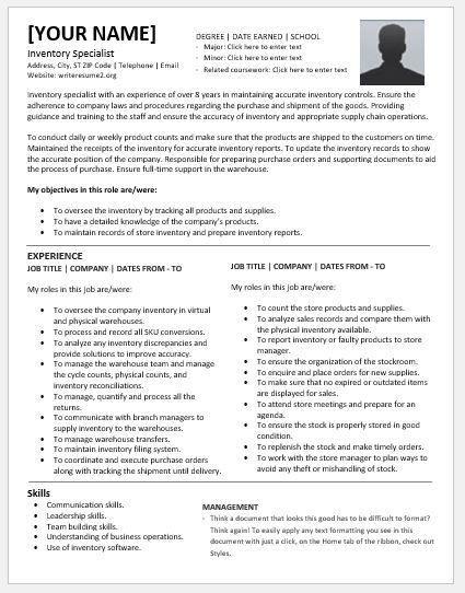 Inventory Specialist Resume, unforgettable computer repair ...