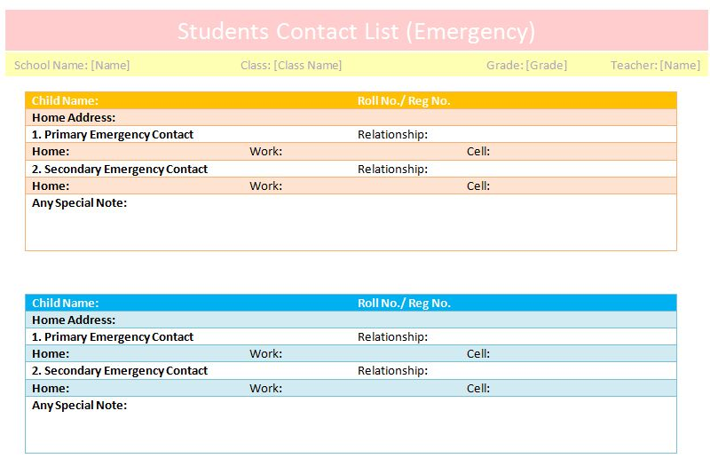 Students contact list template (Emergency) - Dotxes