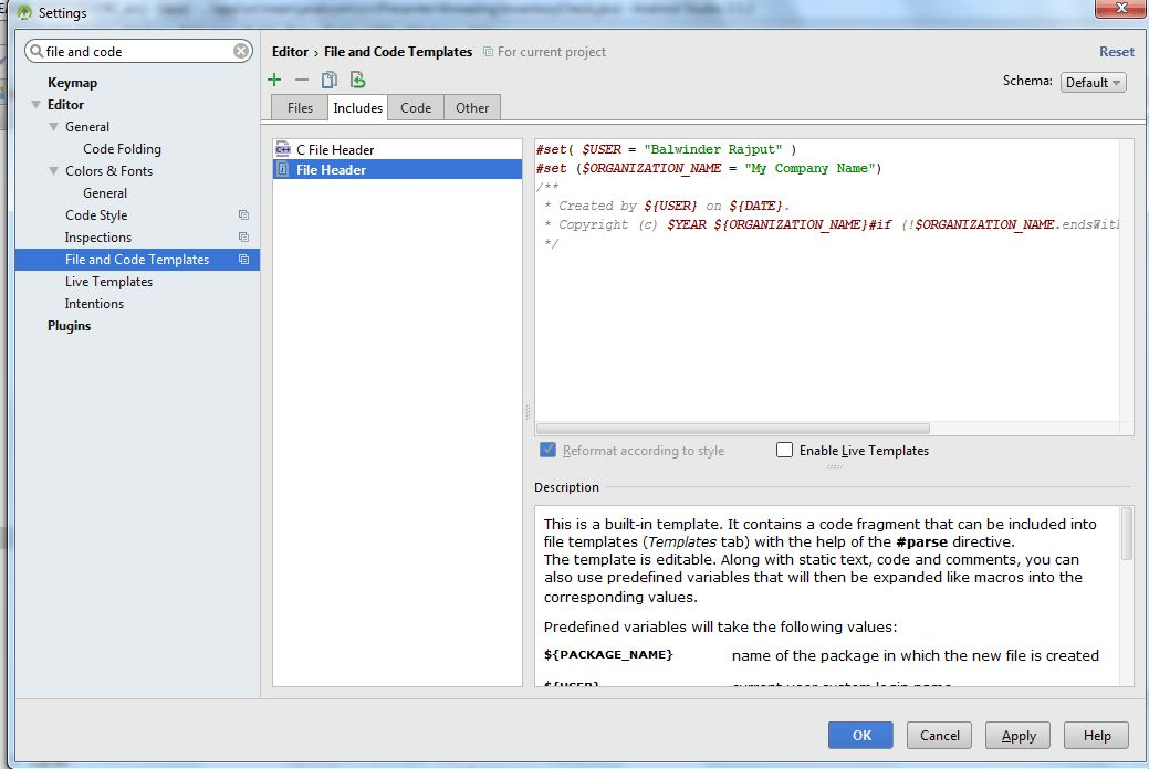 """intellij idea - Android Studio: how to remove/update the """"Created ..."""