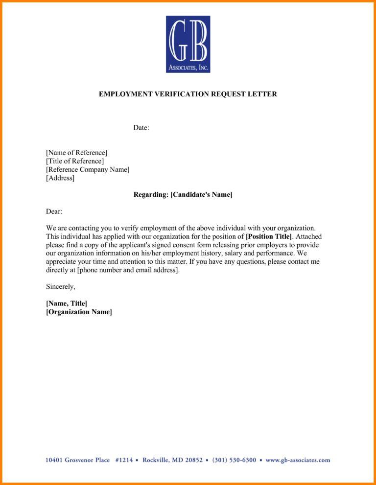 Employment Verification Letter Template Microsoft (4) | Best ...