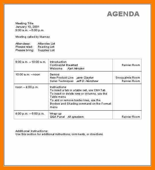 4+ sample agenda formats | hostess resume