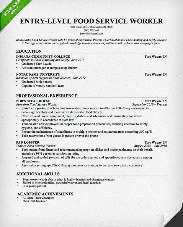 food service resume sample food service waitress waiter resume