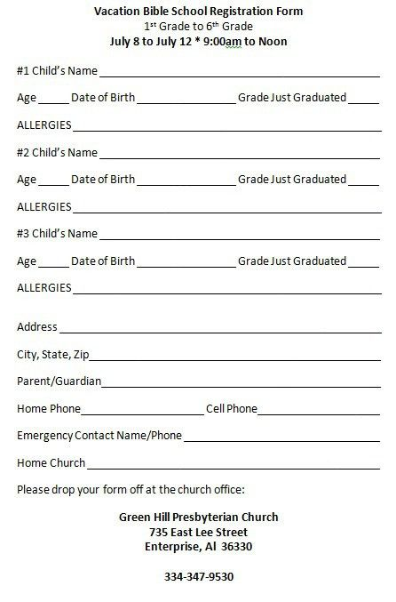 11 Best Photos of VBS Registration Forms 2016 - 2016 VBS ...